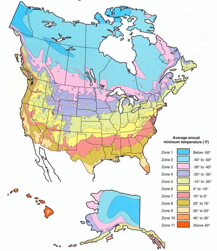 Plant Hardiness Zone Map For North America - Map-of-us-planting-zones